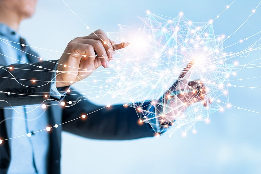 Businessman drawing global structure networking and data exchange