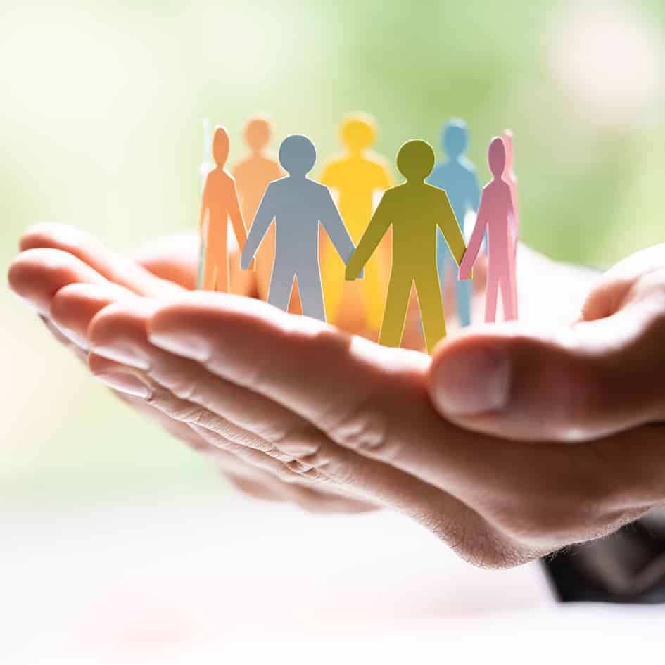 Diversity And Inclusion. Business Employment Leadership. People Silhouettes